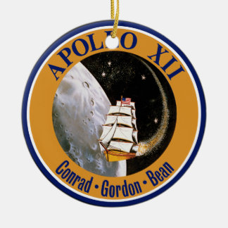 Apollo 12 Mission Patch Double-Sided Ceramic Round Christmas Ornament