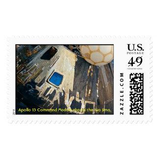 Apollo 13 hoisted aboard the Iwo Jima. Postage Stamp