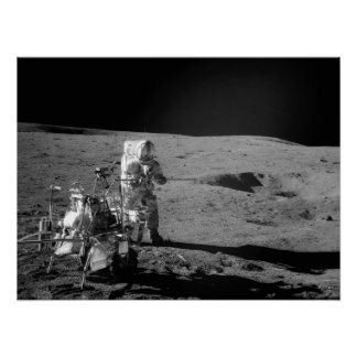 Apollo 14 Astronaut on the Moon Poster
