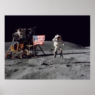 Apollo 16 Astronaut Salutes American Flag Print