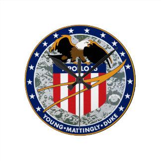 Apollo 16 NASA Mission Patch Logo Round Clock