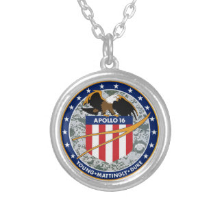 Apollo 16 NASA Mission Patch Logo Silver Plated Necklace