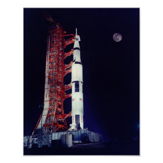 Apollo 17 and the Moon Poster