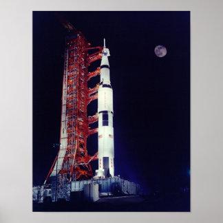 Apollo 17 and the Moon Print