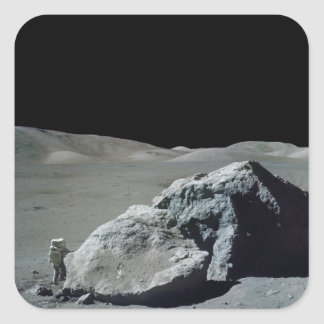 Apollo 17 Astronaut and Vehicle on the Moon Square Sticker