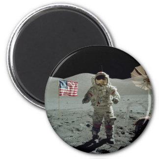 Apollo 17 Astronaut in the Taurus Littrow Valley 2 Inch Round Magnet