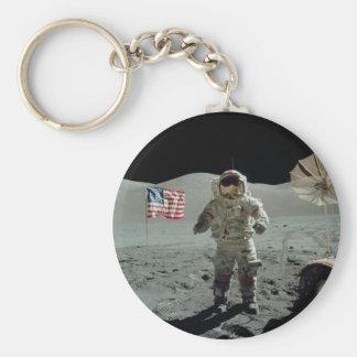 Apollo 17 Astronaut in the Taurus Littrow Valley Basic Round Button Keychain
