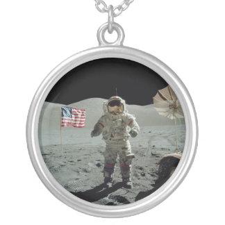 Apollo 17 Astronaut in the Taurus Littrow Valley Round Pendant Necklace