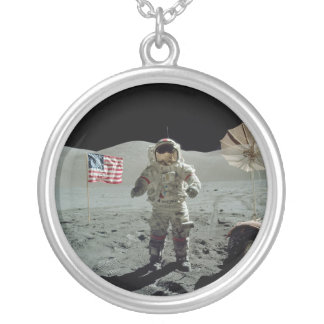 Apollo 17 Astronaut in the Taurus Littrow Valley Silver Plated Necklace