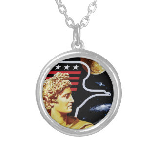 Apollo 17 NASA Mission Patch Logo Silver Plated Necklace