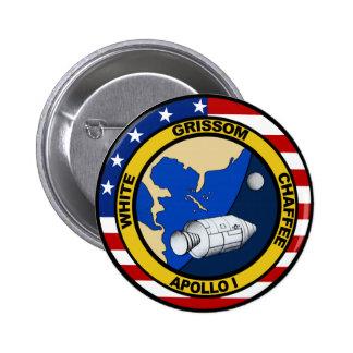 Apollo 1: Grissom, White and chaffee. Pinback Button