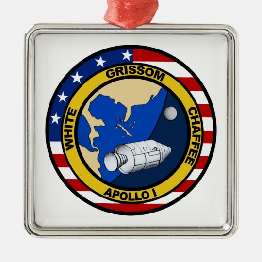 Apollo 1: Grissom, White and chaffee. Metal Ornament