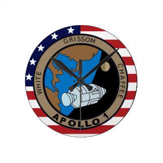 Apollo 1 Mission Patch Logo Round Clock