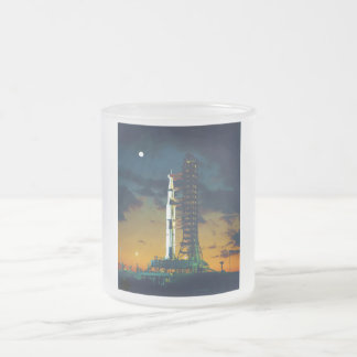 Apollo 4 Saturn V on Pad A Launch Complex 39 Frosted Glass Coffee Mug