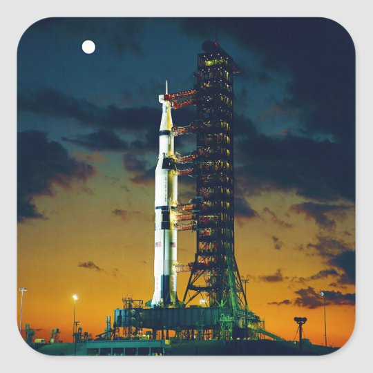 Apollo 4 Saturn V on Pad A Launch Complex 39 Square Sticker