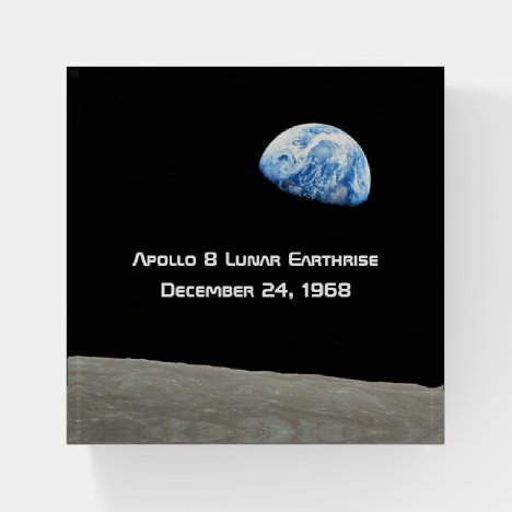 Apollo 8 Lunar Earthrise 50th Anniversary Paperweight