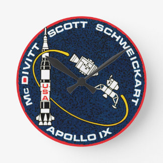 Apollo 9 NASA Mission Patch Logo Round Clock