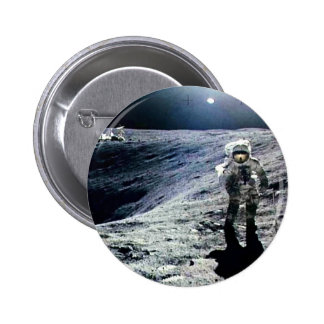 Apollo Astronaut walking on the Moon and crater Button
