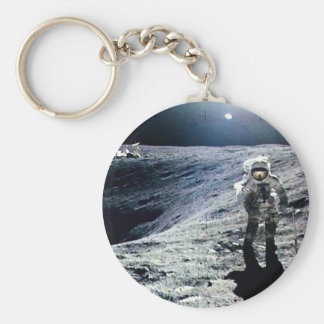 Apollo Astronaut walking on the Moon and crater Keychain
