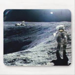 Apollo Astronaut walking on the Moon and crater Mouse Pad