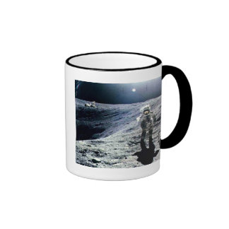 Apollo Astronaut walking on the Moon and crater Ringer Mug