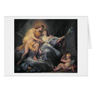 Apollo caressing the nymph Leucothea (oil on canva Card