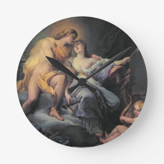 Apollo caressing the nymph Leucothea oil on canva Clock