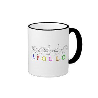 APOLLO FINGERSPELLED ASL SIGN NAME MALE COFFEE MUG