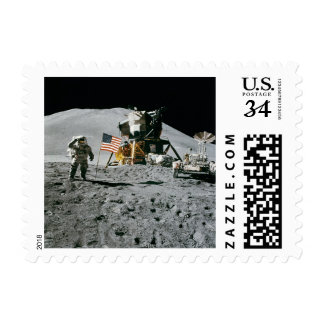 Apollo Moon Landing USA American Flag Stamp