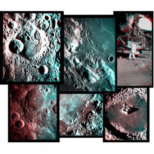 Apollo Moon Surface Anaglyph Magnet/Sculpture Photo Sculpture Magnet