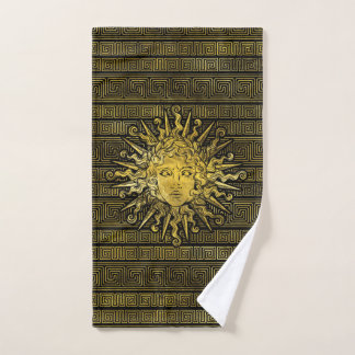 Apollo Sun Symbol on Greek Key Pattern Bath Towel Set