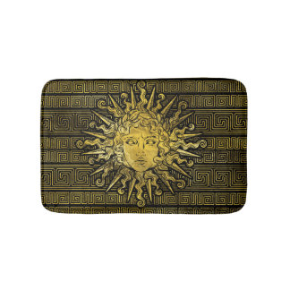 Apollo Sun Symbol on Greek Key Pattern Bathroom Mat