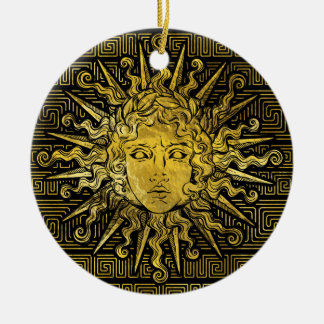 Apollo Sun Symbol on Greek Key Pattern Ceramic Ornament