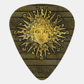Apollo Sun Symbol on Greek Key Pattern Guitar Pick