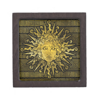 Apollo Sun Symbol on Greek Key Pattern Keepsake Box