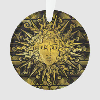 Apollo Sun Symbol on Greek Key Pattern Ornament