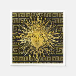 Apollo Sun Symbol on Greek Key Pattern Paper Napkin