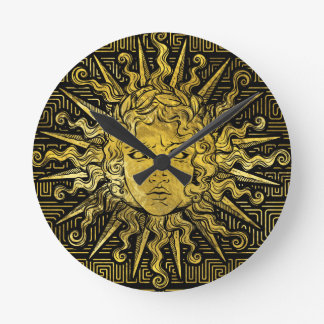 Apollo Sun Symbol on Greek Key Pattern Round Clock