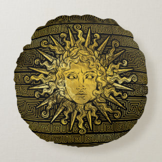 Apollo Sun Symbol on Greek Key Pattern Round Pillow