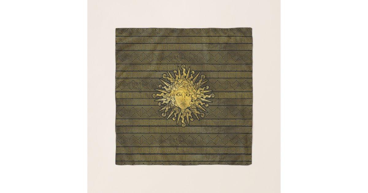 Apollo Sun Symbol On Greek Key Pattern Scarf Zazzle