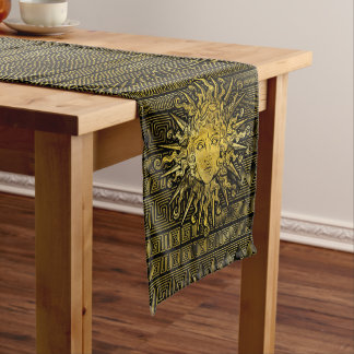 Apollo Sun Symbol on Greek Key Pattern Short Table Runner