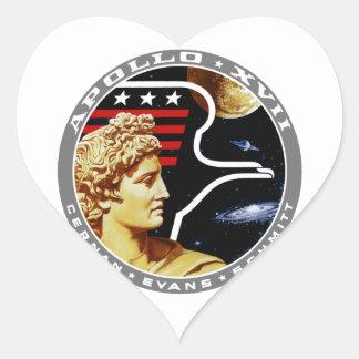 Apolo 17: ¡El final Hurrah! Pegatina En Forma De Corazón