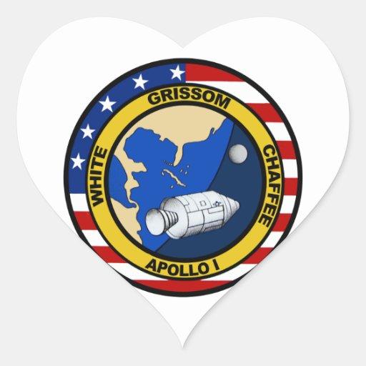 Apolo 1: Grissom, blanco y chaffee. Pegatina Corazon