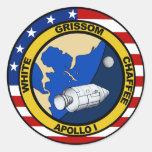 Apolo 1: Grissom, blanco y chaffee. Pegatina Redonda