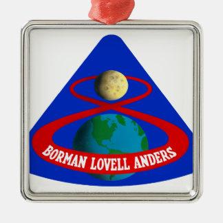 Apolo 8:  ¡Primeros hombres a la luna! Adorno Cuadrado Plateado