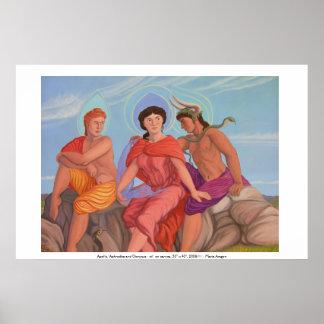 Apolo, Aphrodite y Dionysus Poster