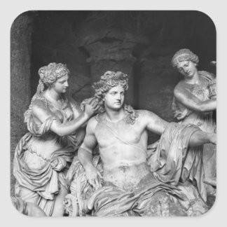 Apolo tendió al lado de las ninfas en la arboleda pegatina cuadrada