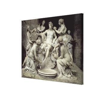 Apolo tendió al lado de las ninfas, previstas para lona envuelta para galerias