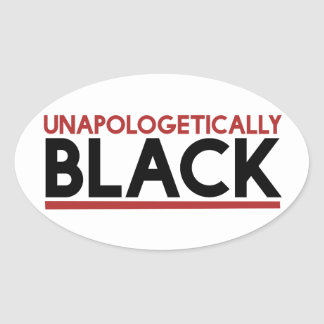 Apologetically black oval sticker