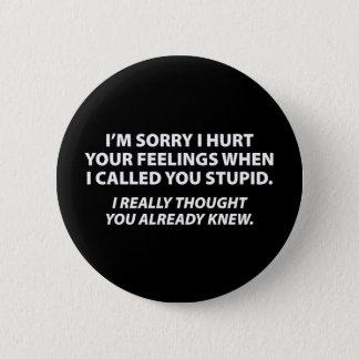 Apologizing to stupid people pinback button